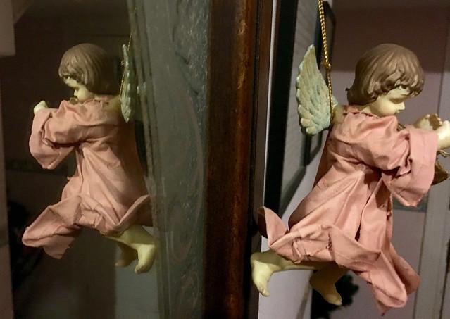 angel hanging on my hall mirror