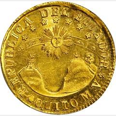 1842 Ecuador 8 Escudos reverse