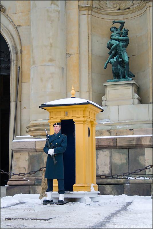Strażnik przed pałacem królewskim w Sztokholmie