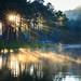 Pang Ung lake at sunrise, Pang Ung Mae Hong Son province, North of thailand