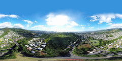 The National Memorial Cemetary of the Pacific at Punchbowl a.k.a. Puowaina (the Hill of Sacrifice) as seen from Papakolea in Honolulu, Hawaii - an aerial 360° Equirectangular VR shot using the new DJI GO4 Spherical Camera from my DJI Mavic Pro at 378 feet