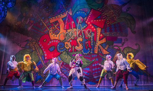 kayla-meikle-cow-and-the-young-ensemble-in-jack-and-the-beanstalk-lyric-hammersmith. Photo by Tristram Kenton