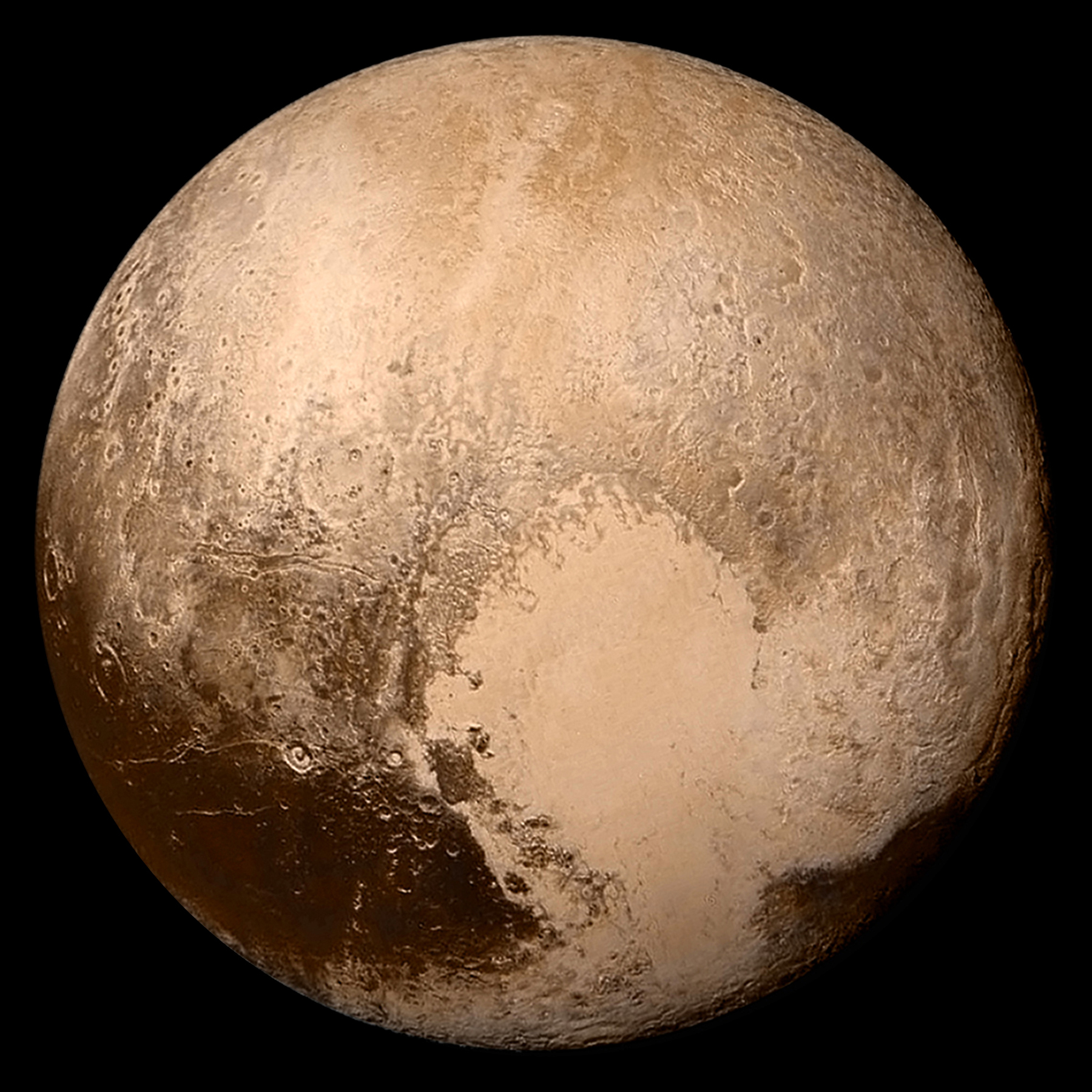 Four images from New Horizons' Long Range Reconnaissance Imager (LORRI) were combined with color data from the Ralph instrument to create this global view of Pluto. The lower right edge of Pluto in this view currently lacks high-resolution color coverage. The images, taken when the spacecraft was 280,000 miles (450,000 kilometers) away, show features as small as 1.4 miles (2.2 kilometers). The north polar region is at top, with bright Tombaugh Regio to the lower right of center and part of the dark Cthulhu Regio at lower left. Part of the dark Krun Regio is also visible at extreme lower right. Images from NASA on July 14, 2015, released July 25, 2015.