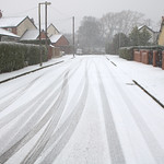 Snowy street in Preston