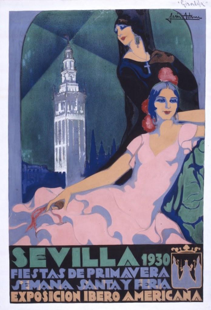 Affiche de 1930 avec la Giralda de la Cathédrale de Séville en arrière plan.