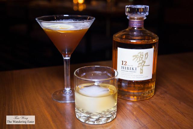 Mystery Plane (Plantation Pineapple Rum, Averna, Aperol, Blanc Vermouth, Fresh Lemon) and Hibiki 12-Year Japanese whiskey
