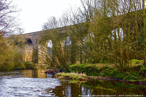 River Calder towards Copley Viaduct.