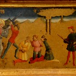 Perugia (Italia). Retablo de la Adoración de los Magos, 1466. Predela. S. Nicolas salvaa 3 condenados injustamente. Benedetto Bonfigli