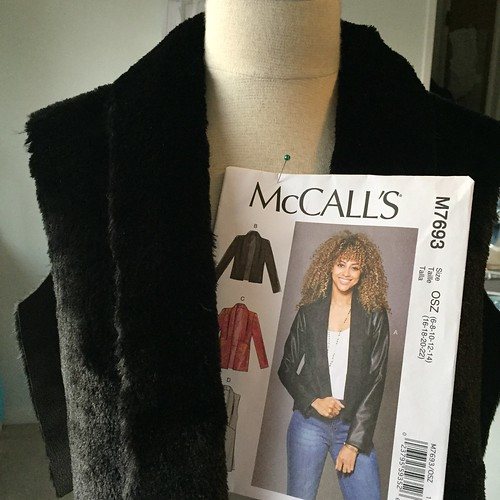 faux fur vest with pattern