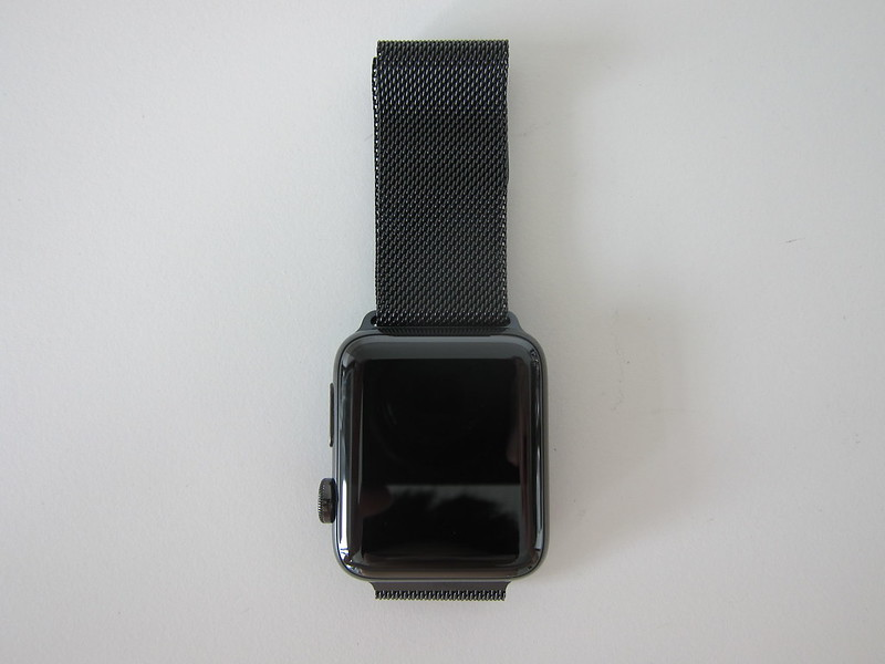 Apple Watch Series 3 Space Black Stainless Steel Case with Space Black Milanese Loop - Front