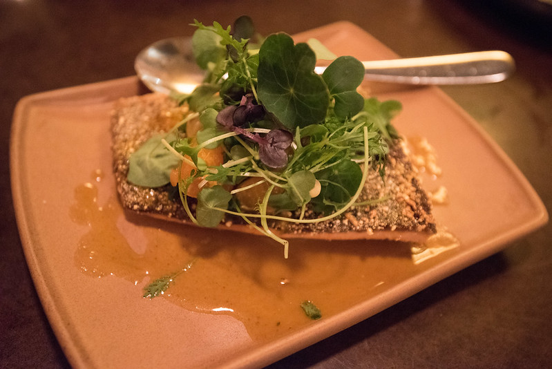State Bird Provisions- Fillmore District, San Francisco, CA: Red Trout with Toasted Hazelnut-Mandarin-Garum Vinaigrette