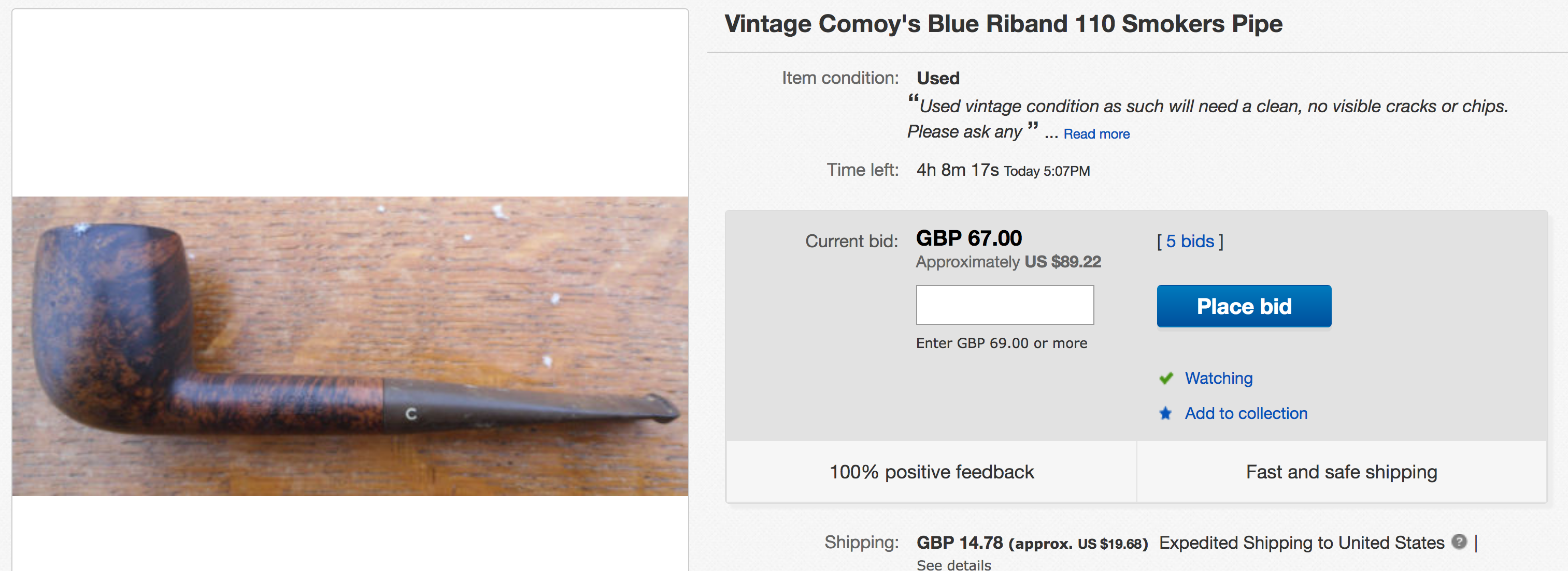 Fraudulent comoy blue riband ebay listing british pipes pipe im letting you know because there are bidders already on this auction gumiabroncs Image collections