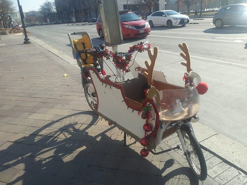 Cargo bike/bicycle duded up for Christmas, as seen on Pennsylvania Avenue NW
