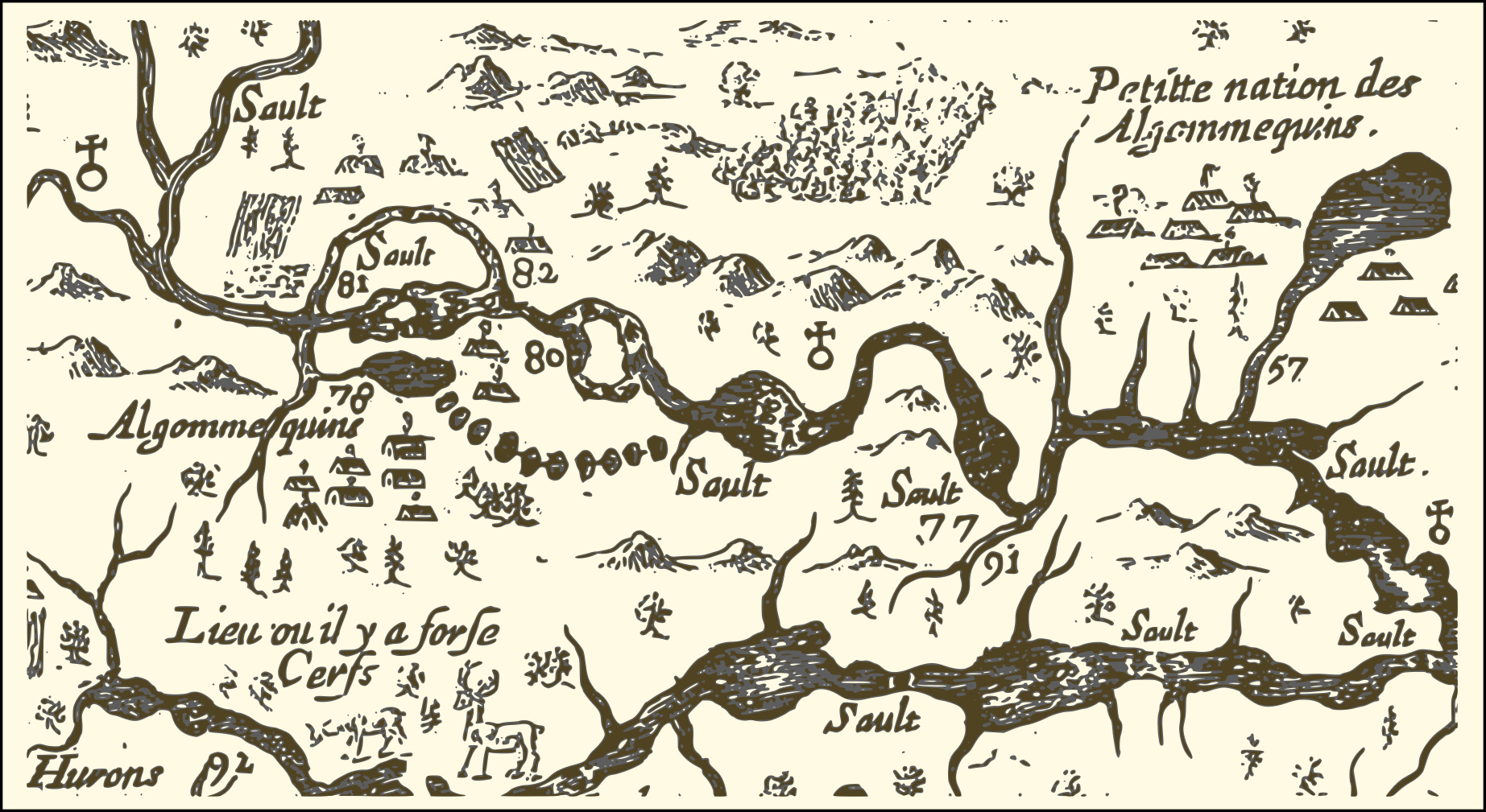 Samuel de Champlain's depiction of the eastern reaches of New France. It shows a portion of the Ottawa River route he took in 1616, with numbers used to indicate sites he visited, significant rapids and aboriginal encampments. Numbers 77 and 91 correspond to the locations of the modern-day City of Ottawa and the Rideau River respectively; #80 marks the location of the large rapids south of Calumet Island; #81 shows the site of Allumette Island, inhabited at that time by members of the Algonquin nation; #82 corresponds roughly to the location of the modern-day village of Fort-Coulonge, and an Algonquin settlement that existed at the time of Champlain's travels.