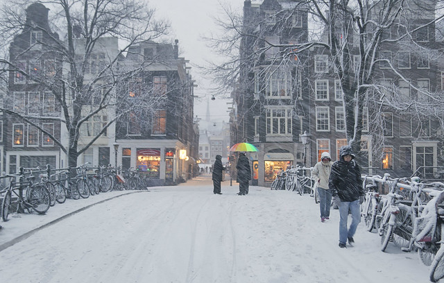 Wintry weather conditions in the heart of Amsterdam