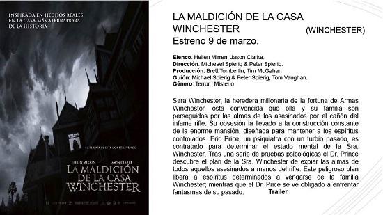 LA MALDICIÓN DE LA CASA WINCHESTER – Estreno: 9 de marzo.