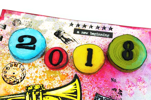 Meihsia Liu Simply Paper Crafts Mixed Media Art Journal New Year Party 2018 Simon Says Stamp Monday Challenge Tim Holtz 2