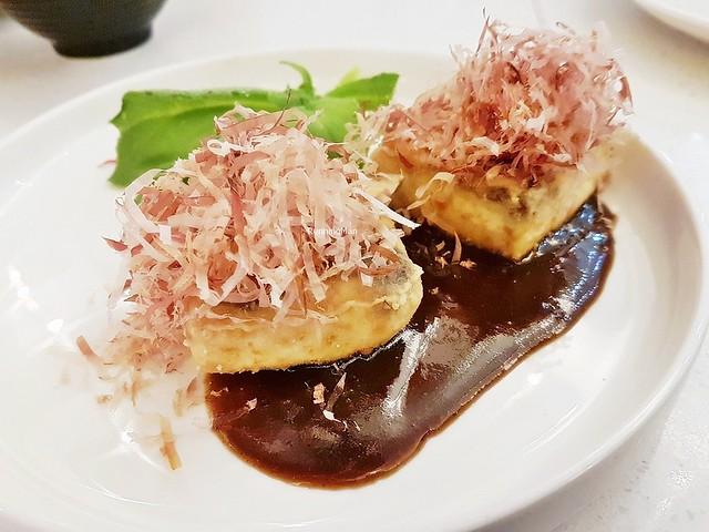 Crispy Home Made Tofu, Foie Gras Mirin Sauce, Iced Lettuce