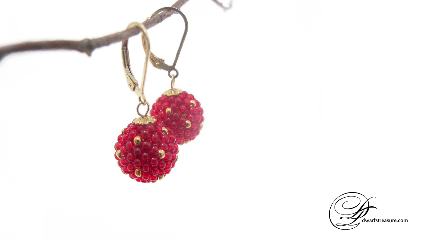 unique red and gold polka dot ornament earrings