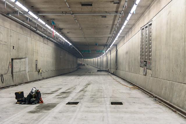 Northbound roadway deck in the SR 99 tunnel