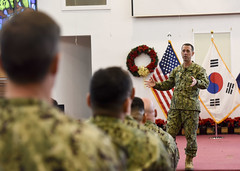 Chief of Naval Operations Adm. John Richardson speaks with Sailors at an all hands call in Seoul during a routine visit to the peninsula, Dec. 14. (U.S. Navy/MCSN William Carlisle)