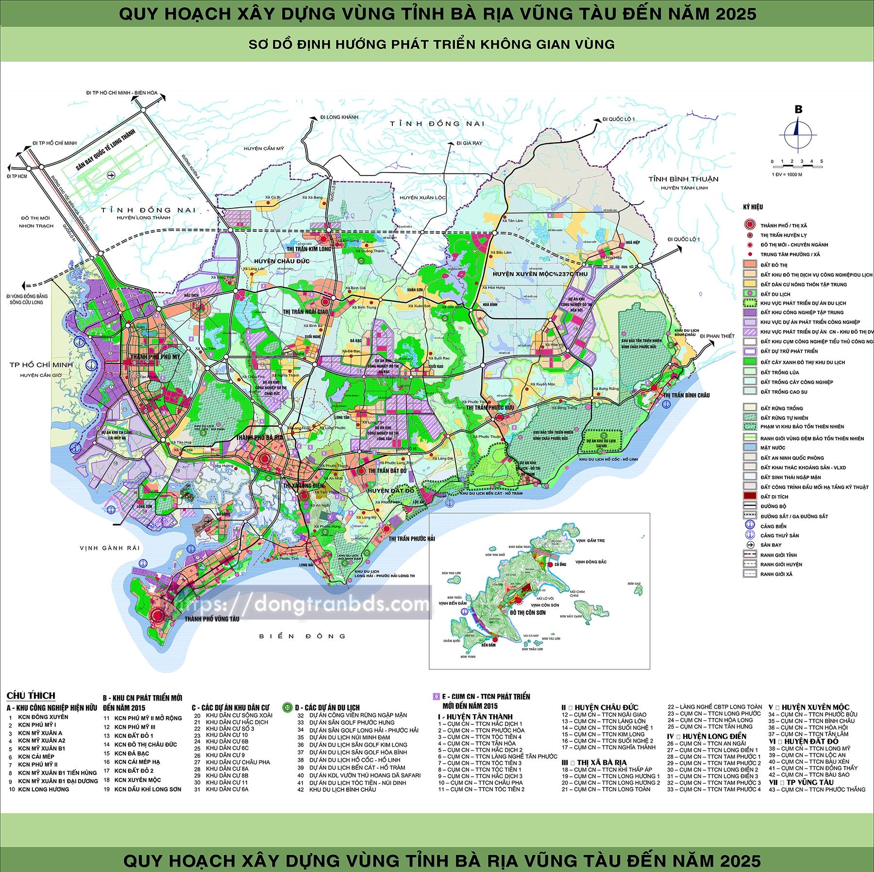 Quy hoạch vùng tỉnh Bà Rịa Vũng Tàu tới năm 2025