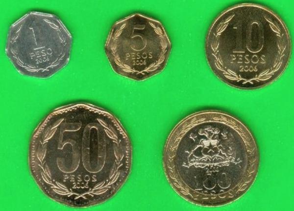 Sada mincí Chile 1-5-10-50-100 Pesos 2006