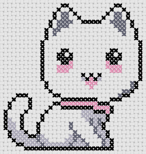 Preview of Cross stitch easy pattern: Cat Anime