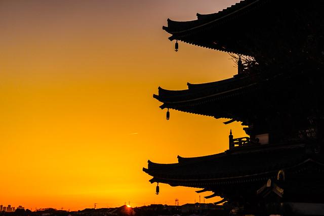 Sunrise at a pagoda