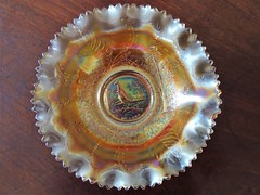 Australia. Crown Crystal marigold carnival glass bowl. Australian fauna series the Kangaroo. Surrounded by gum trees and leaves.
