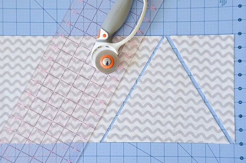 """Cut from 4 5/8"""" mark to 9.25"""" mark. (Alternatively, use an equilateral triangle template/cutting form, or use your 60 degree cutting angles)"""