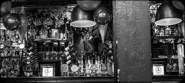 In the pub.