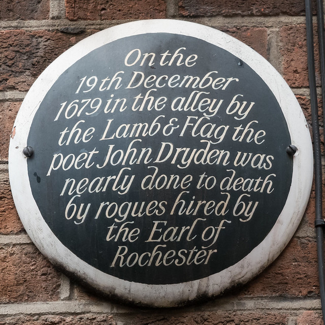 Photo of John Dryden black plaque