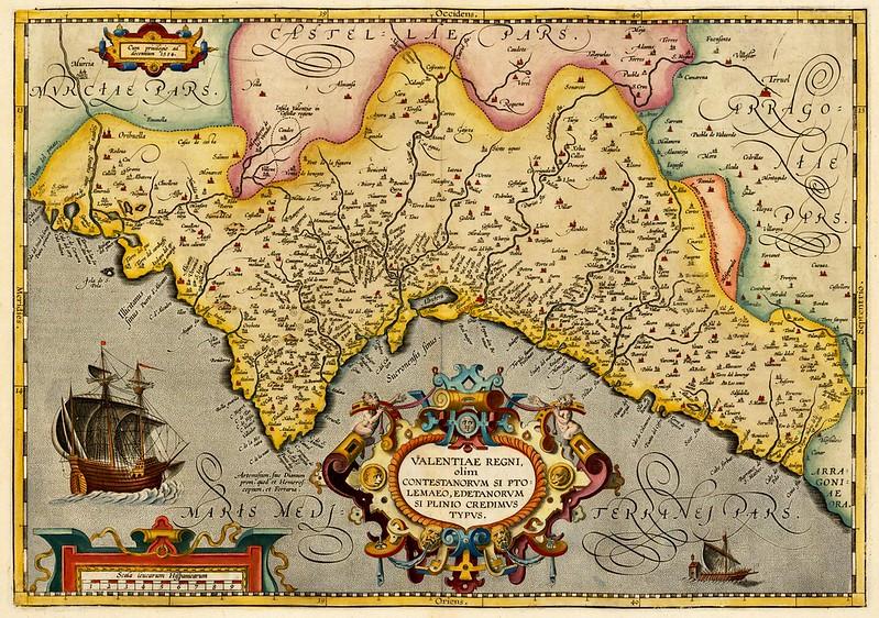Abraham Ortelius - Valentiae Regni olim Contestanorum Si Ptolemaeo, Edentanorum Si Plinio Credimus Typus (1608)