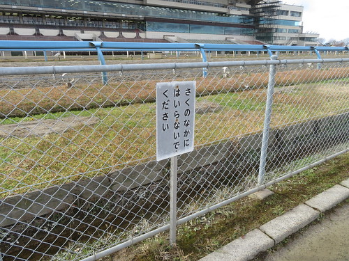 金沢競馬場の柵に入らないで看板