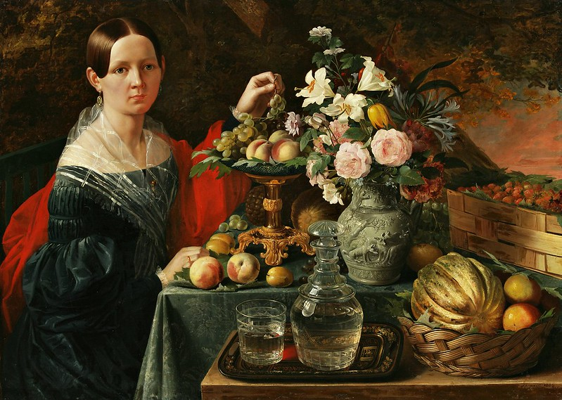 Ivan Fomich Khrutsky - Partret nieviadomaj z kvietkami i fruktami (1838)