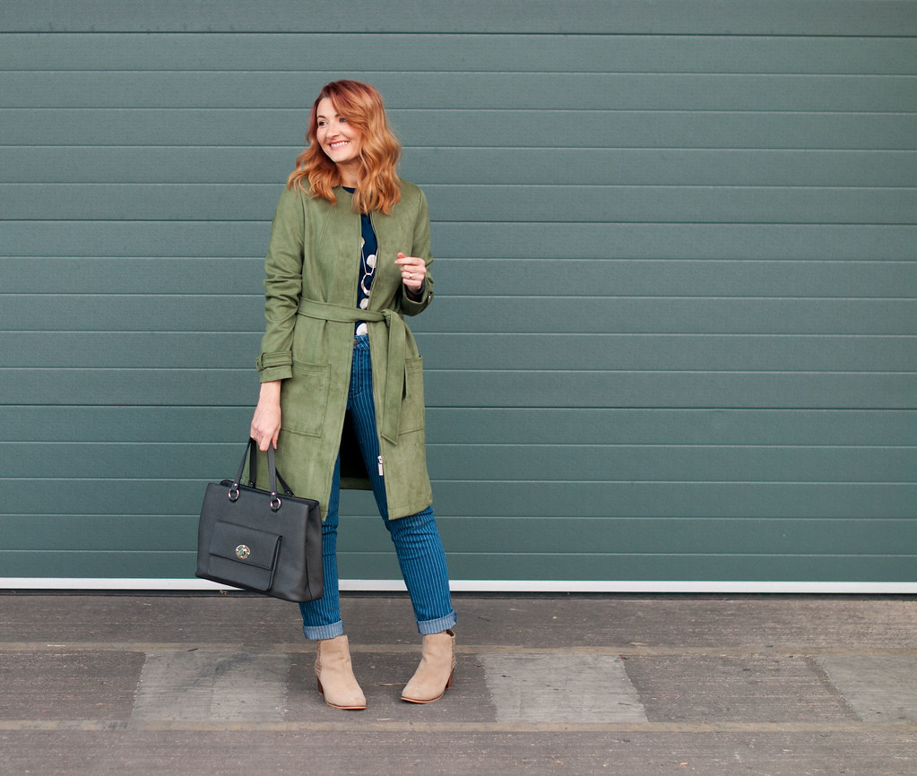 Winter to spring transitional outfit - khaki green suede jacket, spotty top, pinstripe boyfriend jeans, stone ankle boots   Not Dressed As Lamb, over 40 style
