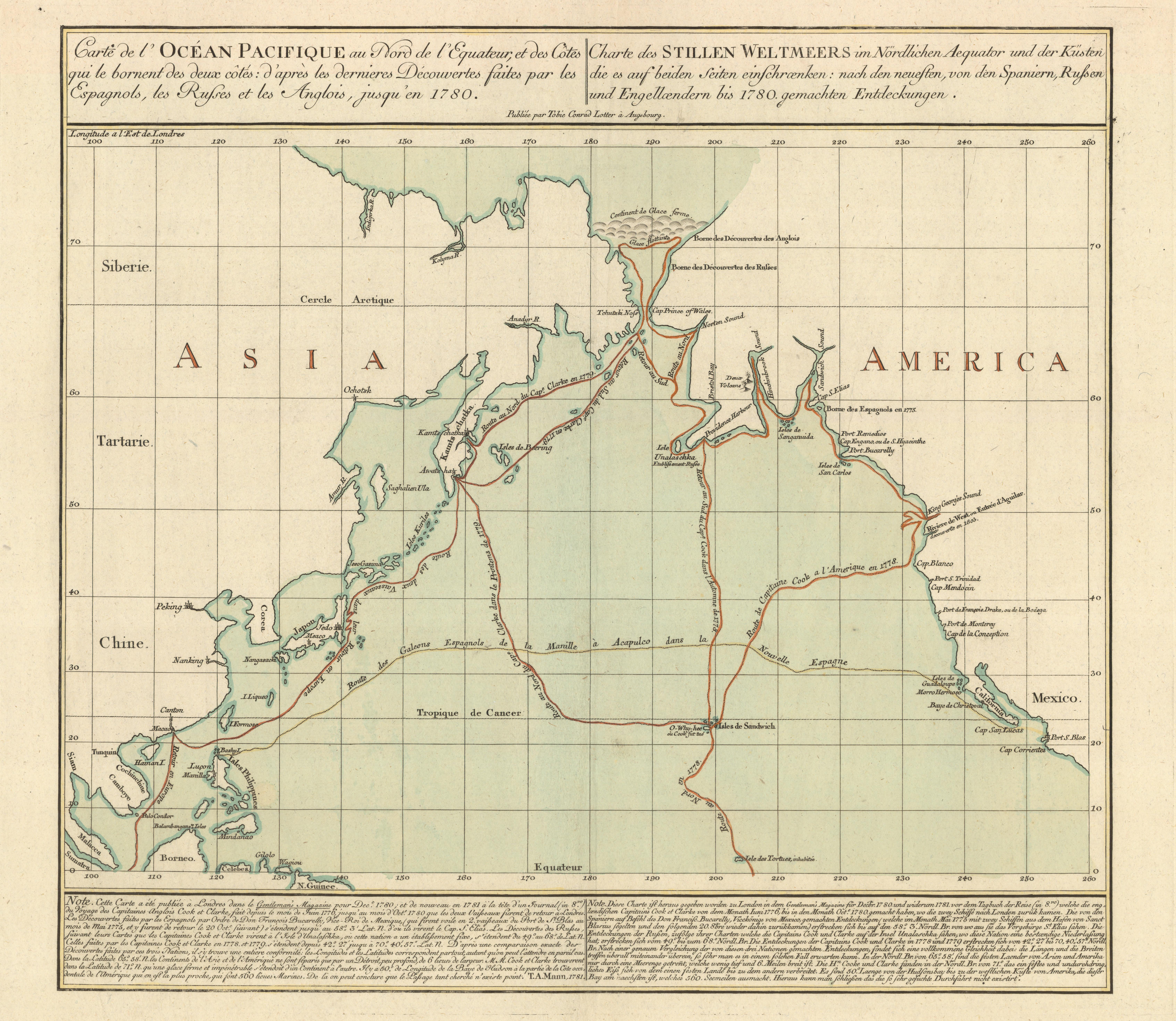 """Lotter, Tobias Conrad, 1717–1777. """"Carte de l'Océan Pacifique au nord de l'equateur, et des côtes qui le bornent des deux côtes: d'après les dernieres découvertes faites par les Espagnols, les Russes et les Anglois, jusqu'en 1780"""" (Augsburg, 1781.)Copperplate map, with added color, 42 × 50 cm. on sheet 59 × 73 cm. [Historic Maps Collection]. The first published map to show Cook's third voyage and the first map to show Hawaii."""