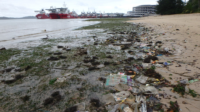 Trash on Pasir Ris shore
