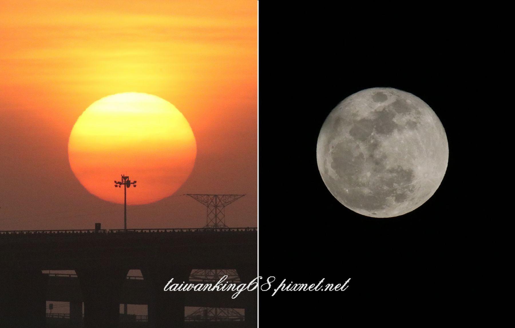 20180102夕陽與月亮比較