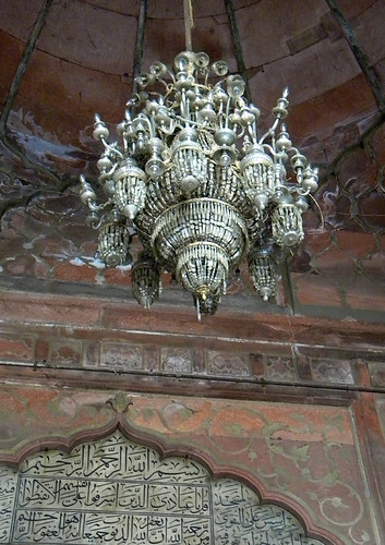 Chandelier on the ceiling of the Jama Masjid Mosque in Delhi, India