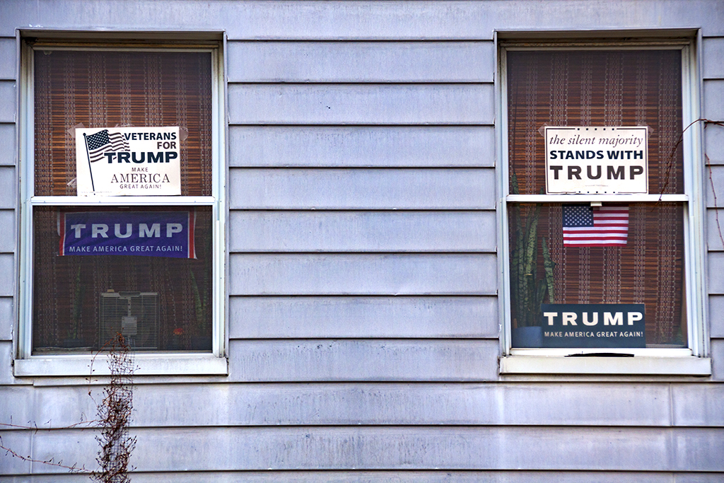 House with Trump signs in second floor windows--Passyunk Square