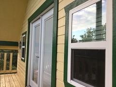 Green trim on balcony