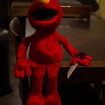 What's with the knife, Elmo?