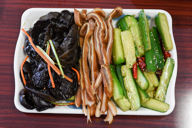 Lao Xi Noodle House- Arcadia, CA: Salad of Wood Ear Mushroom, Pig's Ear Salad, Cucumber with Hot and Sour Sauce