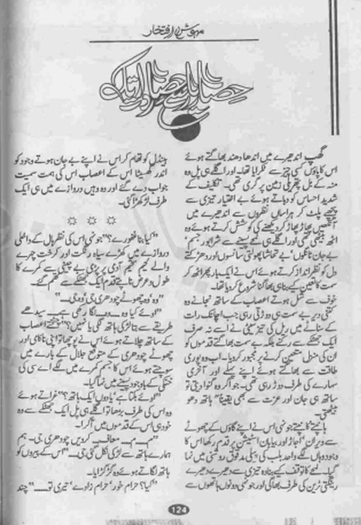 Hisar e Yar Se Hisar e Raat Tak  is a very well written complex script novel which depicts normal emotions and behaviour of human like love hate greed power and fear, writen by Mehwish Iftikhar , Mehwish Iftikhar is a very famous and popular specialy among female readers
