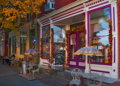'Creative Procrastinations and Whimsical Necessities' Store and 'Lost Dog' Cafe -- East German Street Shepherdstown (WV) November 2017