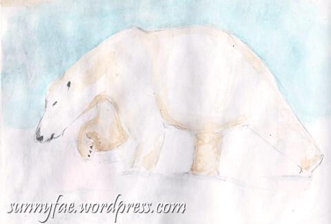 polar bear walking watercolour sketch