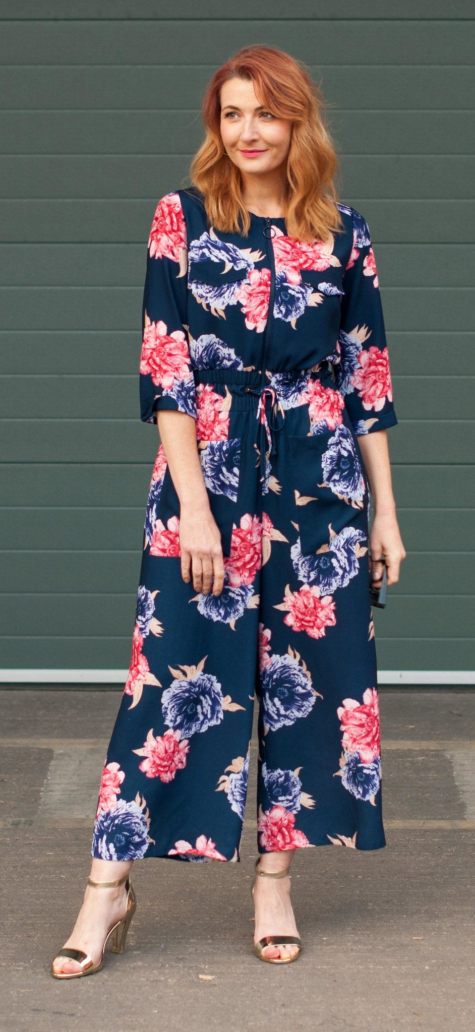 Winter to spring transitional outfit - Blue and pink floral wide leg jumpsuit | Not Dressed As Lamb, over 40 style