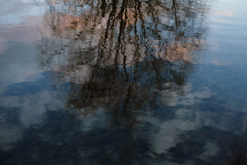 Evening reflected in water.